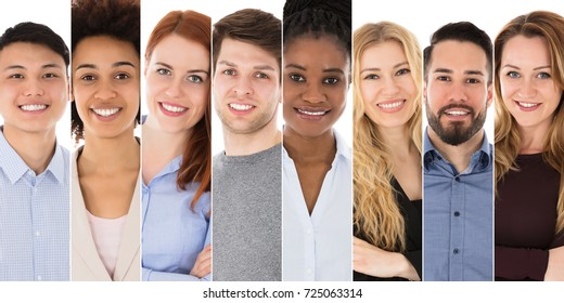 Collage Of Diverse Group Of Happy Businesspeople