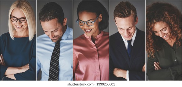 Collage of a diverse group of smiling businessmen and businesswomen looking down while standing against a gray background