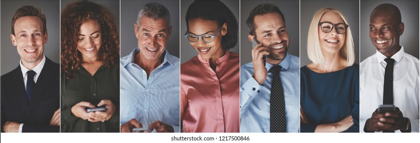 Collage of a diverse group of smiling businesspeople reading text messages or talking on their cellphones