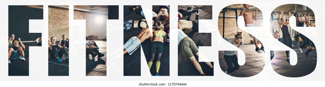 Collage of a diverse group of young people in sportswear doing different exercises together in a gym with an overlay of the word fitness