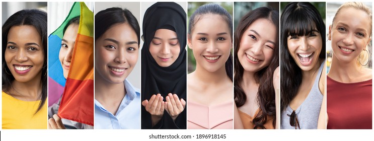 Collage of diverse and inclusive women from around the world, concept of international women's day or IWD, world women with diversity and inclusivity, ethnicity and religion tolerance, women's right