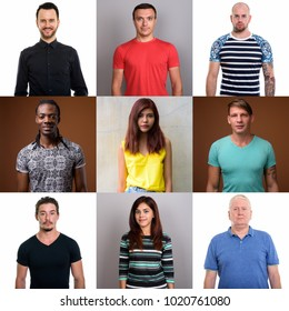 Collage Of Diverse Multi-ethnic And Mixed Age People In Square Crop