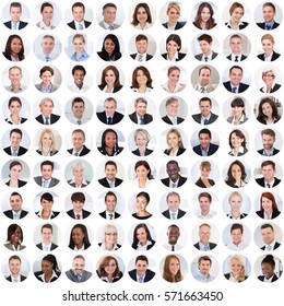 Collage Of Diverse Multi-ethnic And Mixed Age Smiling Business People. Team Diversity Concept