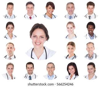 Collage Of Diverse Smiling Doctors Hospital Team