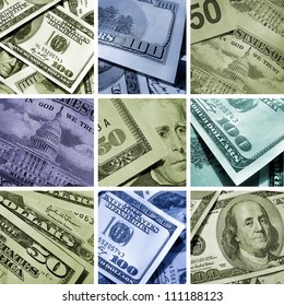 Collage of dollars USA