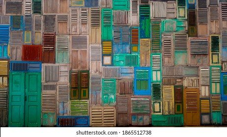 Collage doors backgrounds - wooden windows, colorful and antique from around the world. exterior background