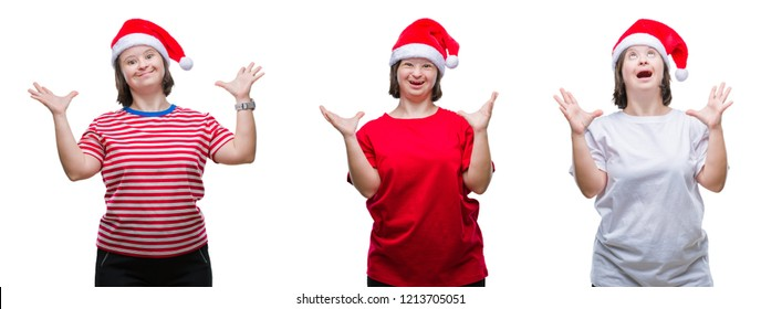 Collage of down sydrome woman wearing christmas hat over isolated background crazy and mad shouting and yelling with aggressive expression and arms raised. Frustration concept.