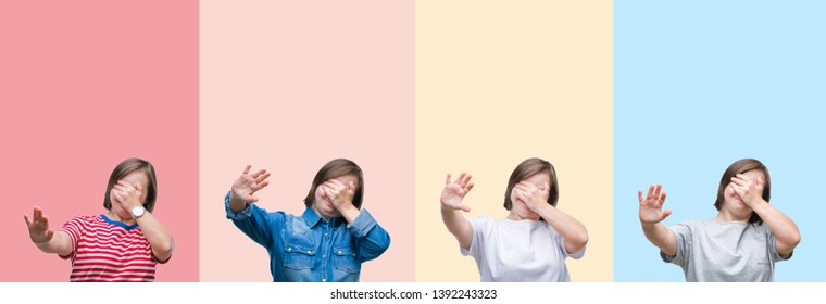 Collage of down syndrome woman over colorful stripes isolated background covering eyes with hands and doing stop gesture with sad and fear expression. Embarrassed and negative concept.