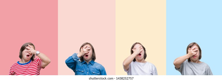 Collage of down syndrome woman over colorful stripes isolated background peeking in shock covering face and eyes with hand, looking through fingers with embarrassed expression.