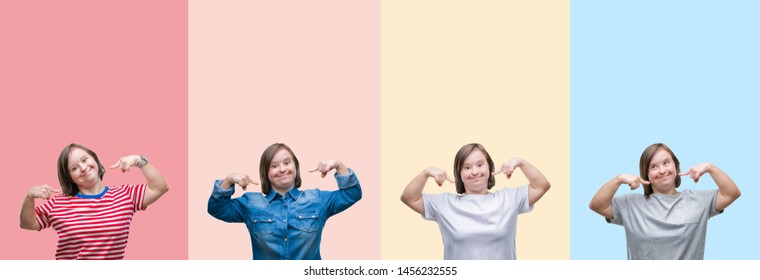 Collage of down syndrome woman over colorful stripes isolated background smiling confident showing and pointing with fingers teeth and mouth. Health concept.