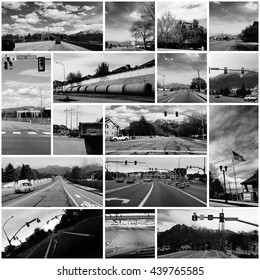Collage of Drive by Photo Shooting in the Suburbs