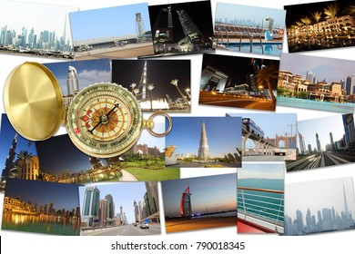 Collage with Dubai (United Arab Emirates) photos, compass - Burj Dubai skyscraper, Burj Al Arab skyscraper, monorail train