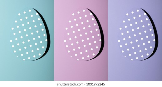 Collage of Easter greeting card with pastel ultraviolet , pink,cyan paper eggs with dots .Creative greeting concept. Layout with copy space for your text