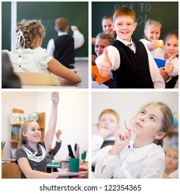 Collage of education cheerful children in classroom