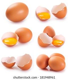 collage of eggs isolated on white background