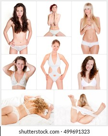 Collage of eight attractive lingerie models in front of white studio background, beauty concept