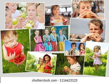 Collage of eighteen eating people (twelve models), children with ice cream, fast food, fruits, berries