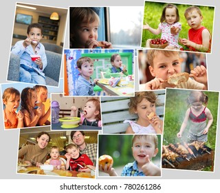 Collage of eighteen eating people (twelve models), children with ice cream, fast food, fruits, shashlik