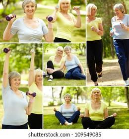 Collage of elderly women doing exercises outdoors