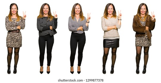 Collage of elegant middle age woman over isolated white background smiling with happy face winking at the camera doing victory sign. Number two.