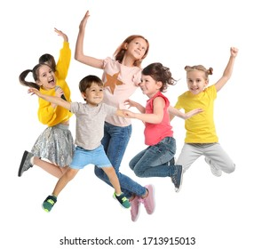 Collage of emotional children jumping on white background
