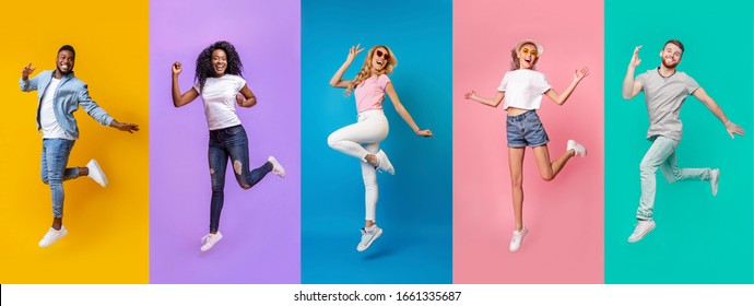 Collage of emotional people of different races jumping on color background, panorama