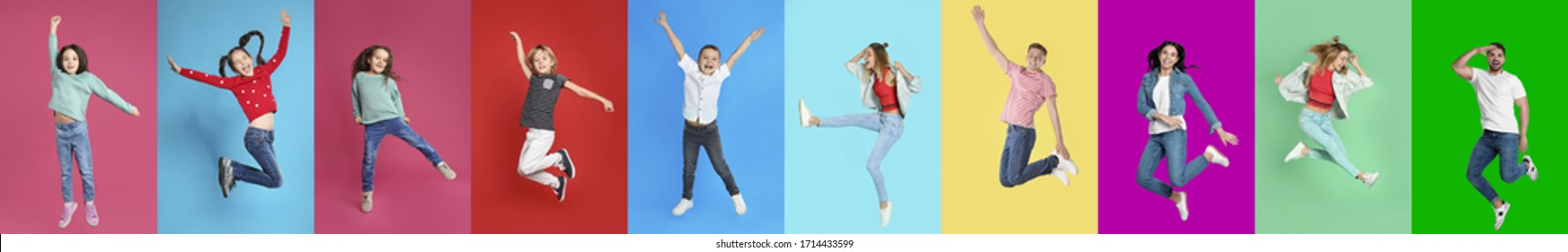 Collage of emotional people jumping on different color backgrounds. Banner design