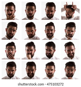 Collage with emotions of handsome man in studio. Handsome man expressing positive and negative facial emotions.