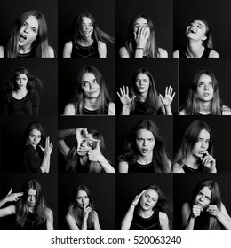 collage of emotions. The posing  the model. Beautiful girl with long hair. Black and white