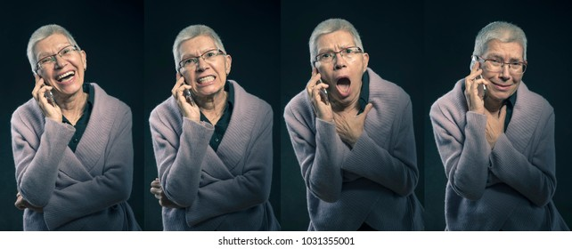 Collage of emotions, senior elderly lady with different expressions - happiness, anger, sadness and fear