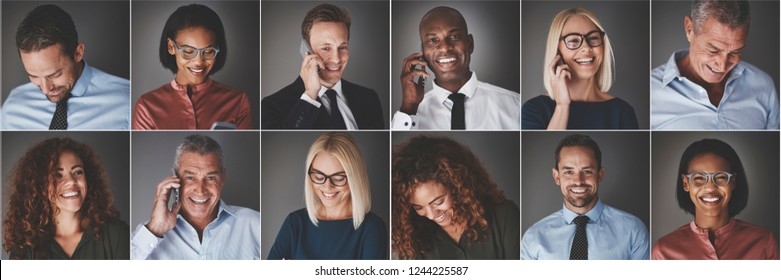 Collage of an ethnically diverse group of businessmen and businesswomen smiling confidently or talking on their cellphones