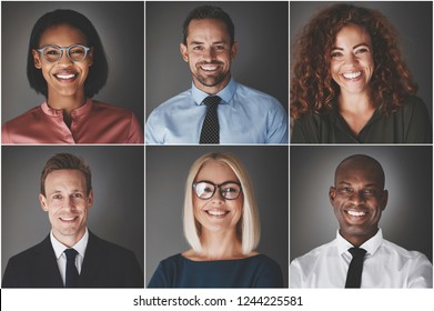 Collage of an ethnically diverse group of smiling businessmen and businesswomen against a gray background