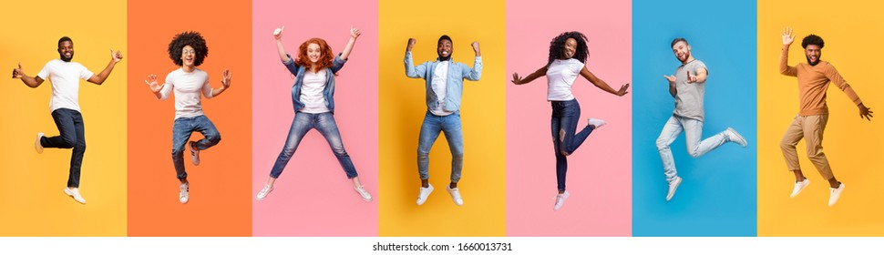 Collage of excited jumping multinational people in air on color background, panorama