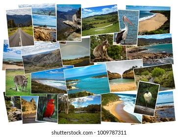 Collage from fabulous location of Australia on white background on white background
