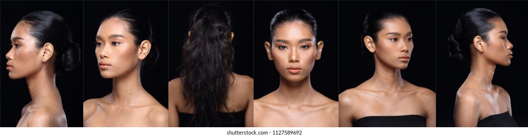 Collage Face of Asian tanned skin Woman after applying make up hair style. no retouch, fresh face with acne and wart skin. Studio lighting black background, Girl turn around to show face angle