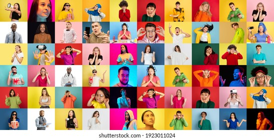 Collage of faces of 37 emotional people on multicolored backgrounds. Expressive models, multiethnic group. Human emotions, facial expression concept. Astonished, winner, shouting, successful, movie