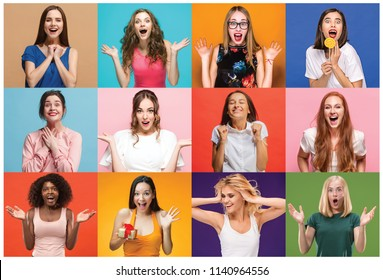 The collage of faces of surprised people on colored backgrounds. Happy women smiling. Human emotions, facial expression concept. collage of different human facial expressions, emotions, feelings
