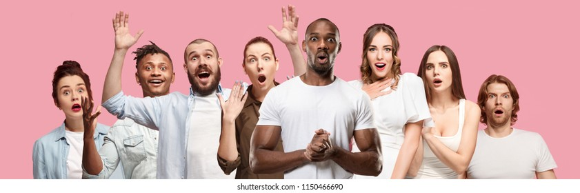 The collage of faces of surprised people on pink backgrounds. Human emotions, facial expression concept. collage of men and woman