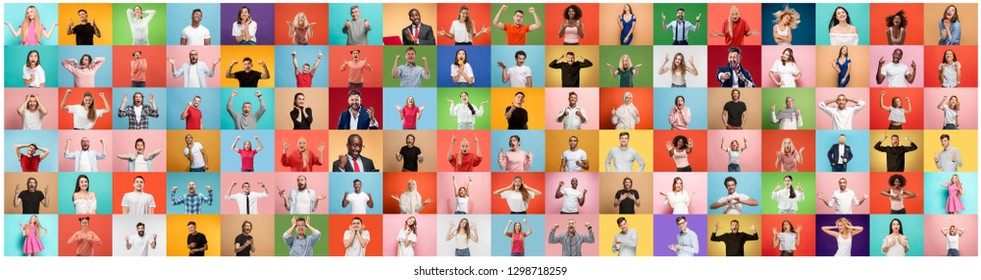 The collage of faces of surprised people on colored backgrounds. Happy men and women smiling. Human emotions, facial expression concept. collage of different human facial expressions, emotions - Shutterstock ID 1298718259