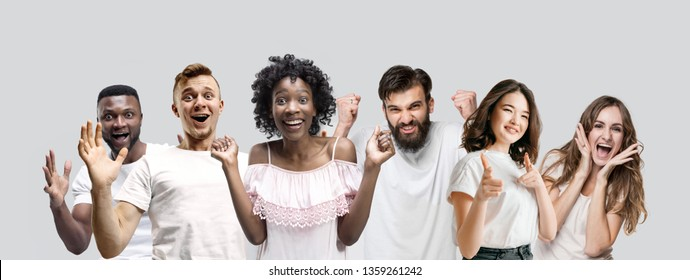 The collage of faces of surprised people on white studio backgrounds. Human emotions, facial expression concept. Collage of astonished men and women.