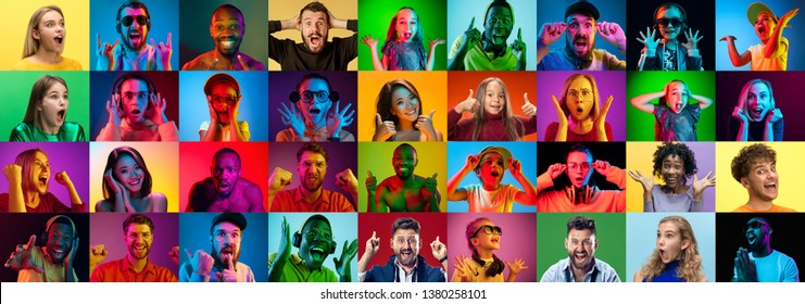 The collage of faces of surprised people on colored backgrounds. Happy men and women smiling. Human emotions, facial expression concept. Different human facial expressions, emotions, feelings
