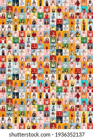 Collage of faces of surprised people on multicolored backgrounds. Happy men and women smiling. Human emotions, facial expression concept. Different human facial expressions, emotions, feelings.