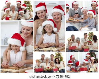 Collage of families enjoying celebration moments together at home