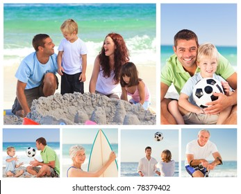 Collage of family members on a beach