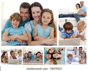 Collage of a family spending moments together at home
