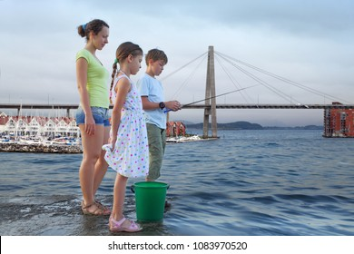 Collage with family of three with fishing rod fishing in sea