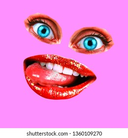 Collage in a fashion magazine style with crazy fun girl lips and eyes. Girl mouth and eyes close-up with lipstick makeup, expressing emotions.