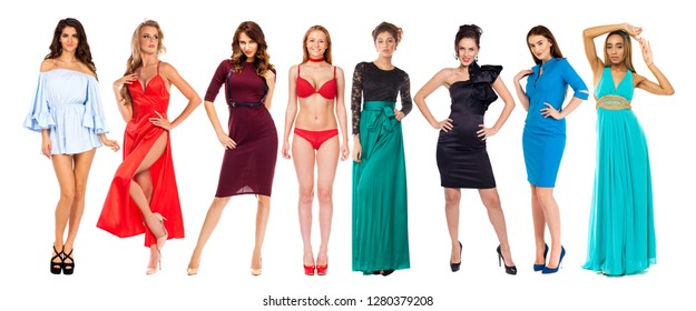 Collage fashion models in dress, isolated on white background