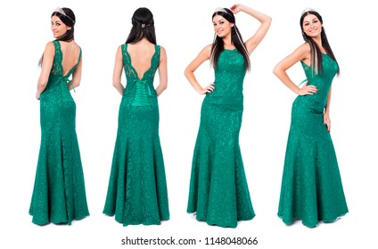 Collage, Fashion portrait of pretty sexy young brunette woman in long green dress posing isolated on white background