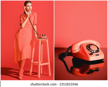 collage with fashionable woman and vintage rotary telephone on living coral background